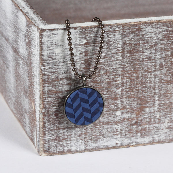 Navy tweed clay pendant
