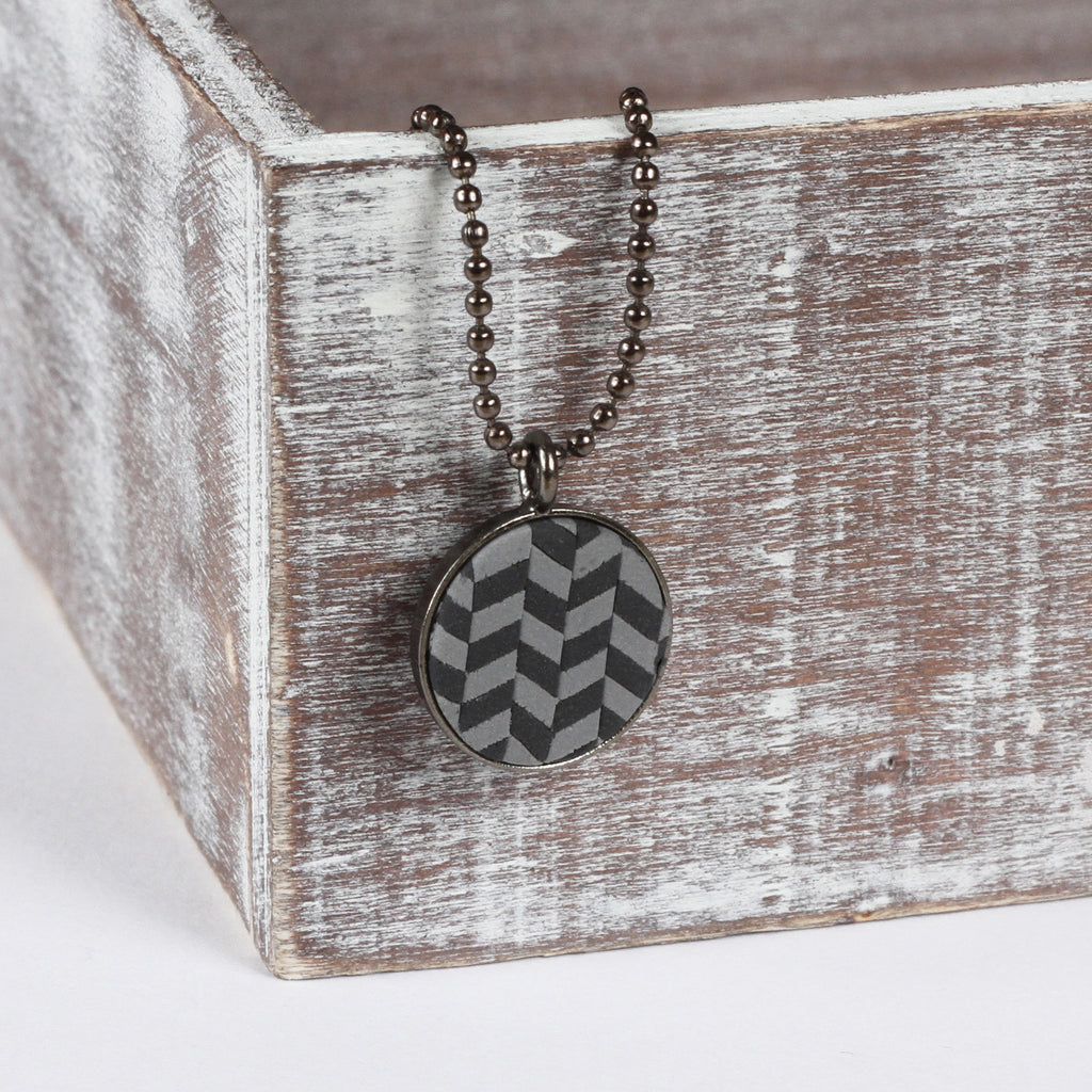 Grey tweed clay pendant
