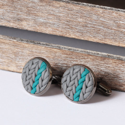 Striped knitted clay cufflinks - teal stripe