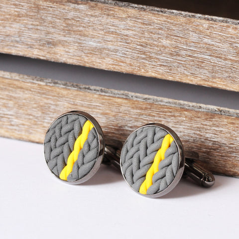 Striped knitted clay cufflinks - yellow stripe