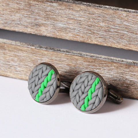 Striped knitted clay cufflinks - green stripe