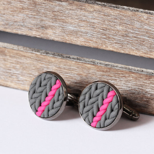 Striped knitted clay cufflinks - pink stripe
