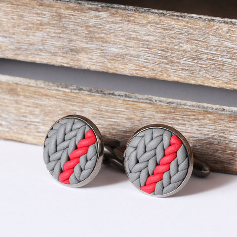 Striped knitted clay cufflinks - red stripe