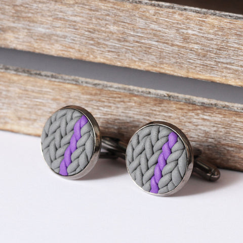 Striped knitted clay cufflinks - purple stripe