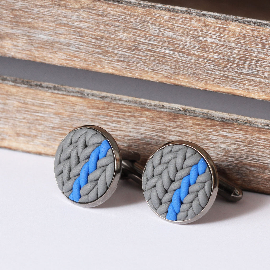 Striped knitted clay cufflinks - blue stripe