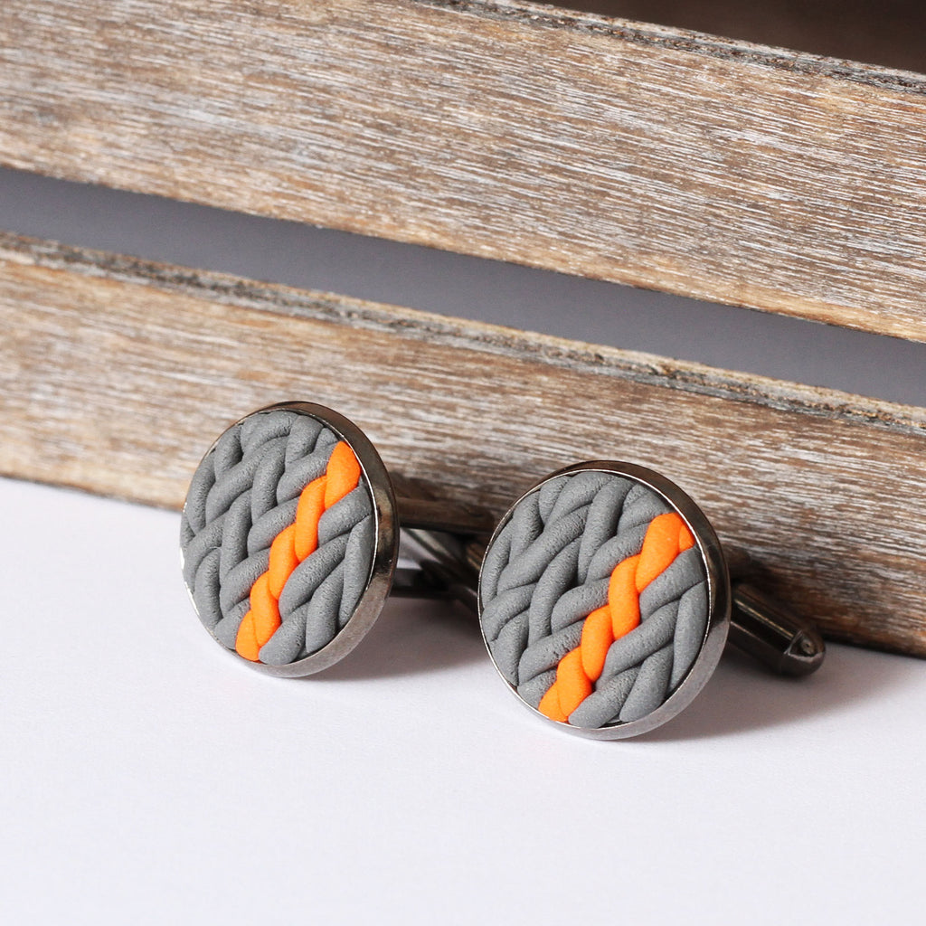 Striped knitted clay cufflinks - orange stripe