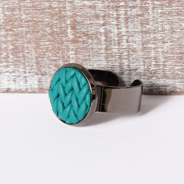 Teal knitted clay ring