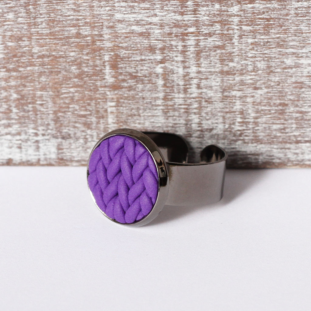 Purple knitted clay ring