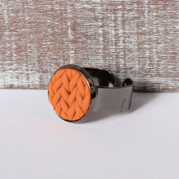 Burnt Orange knitted clay ring