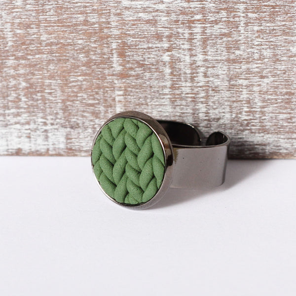 Khaki knitted clay ring