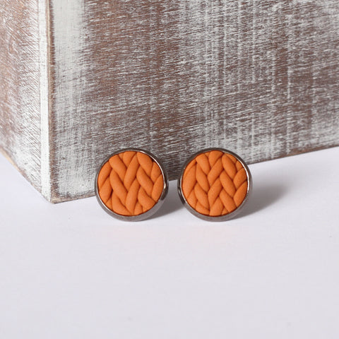 Burnt Orange knitted clay Earrings