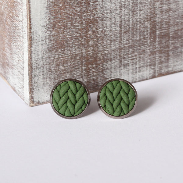 Khaki knitted clay Earrings