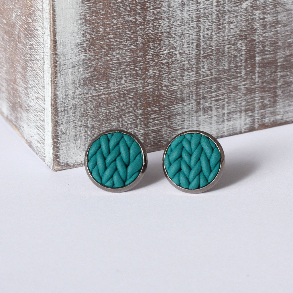 Teal knitted clay Earrings