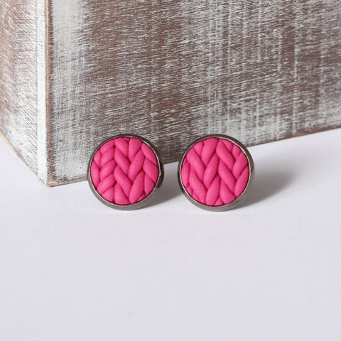 Fuchsia knitted clay Earrings