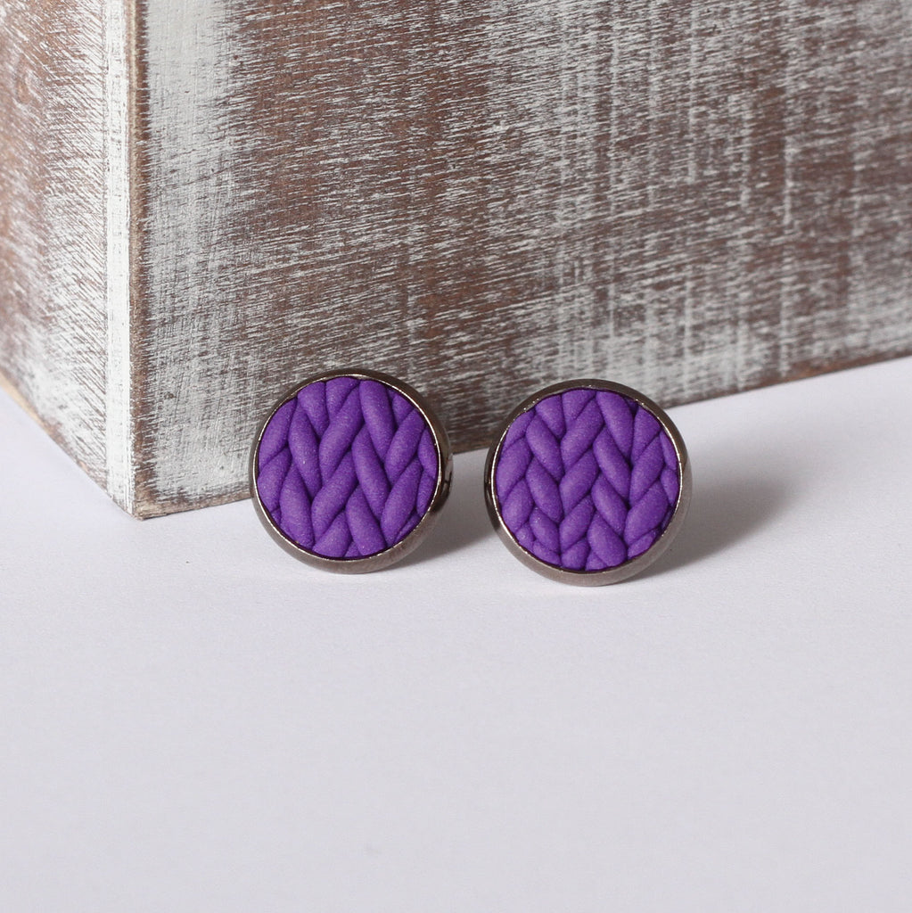 Purple knitted clay Earrings