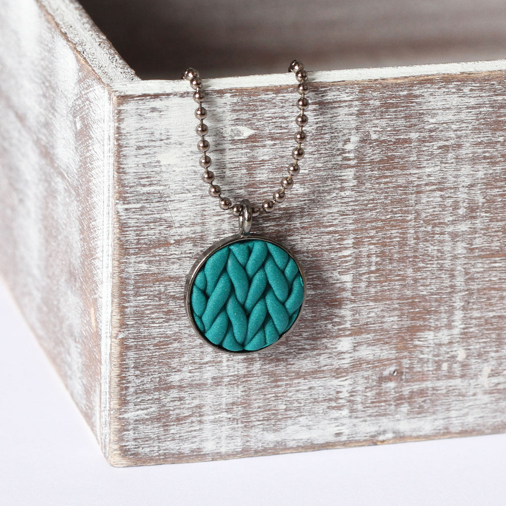 Teal knitted clay Necklace