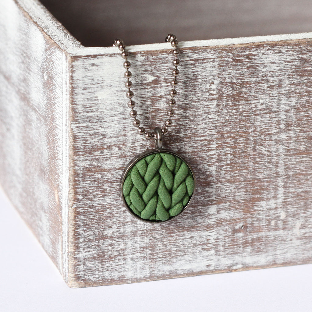 Khaki knitted clay Necklace