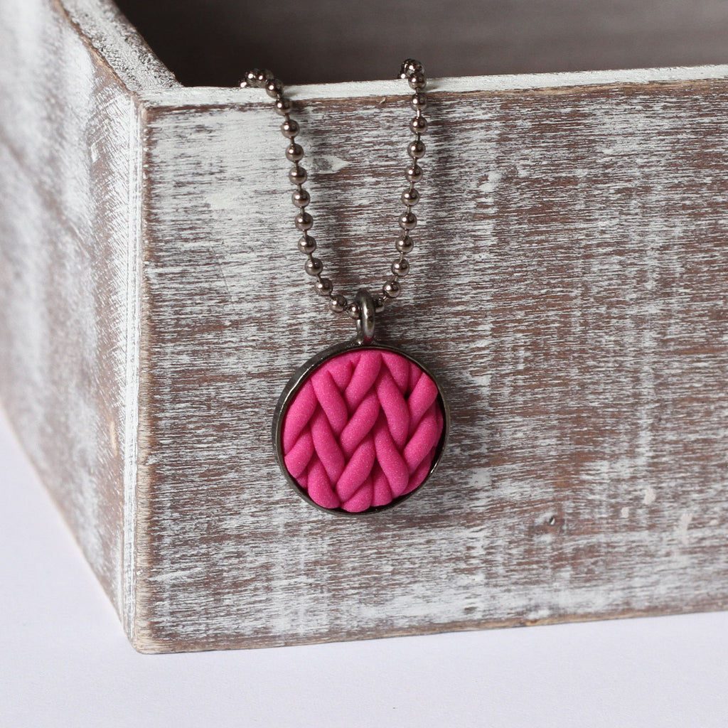 Fuchsia knitted clay Necklace