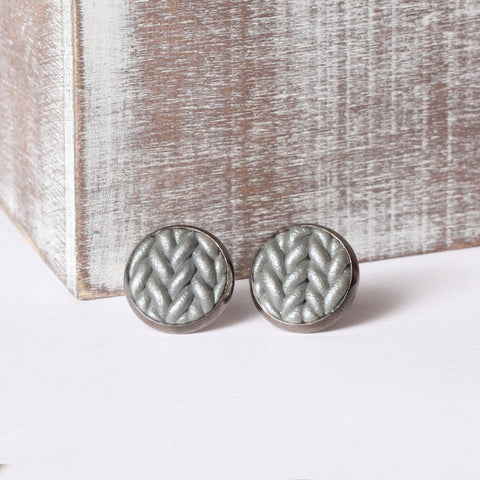 Metallic silver Knitted clay earrings