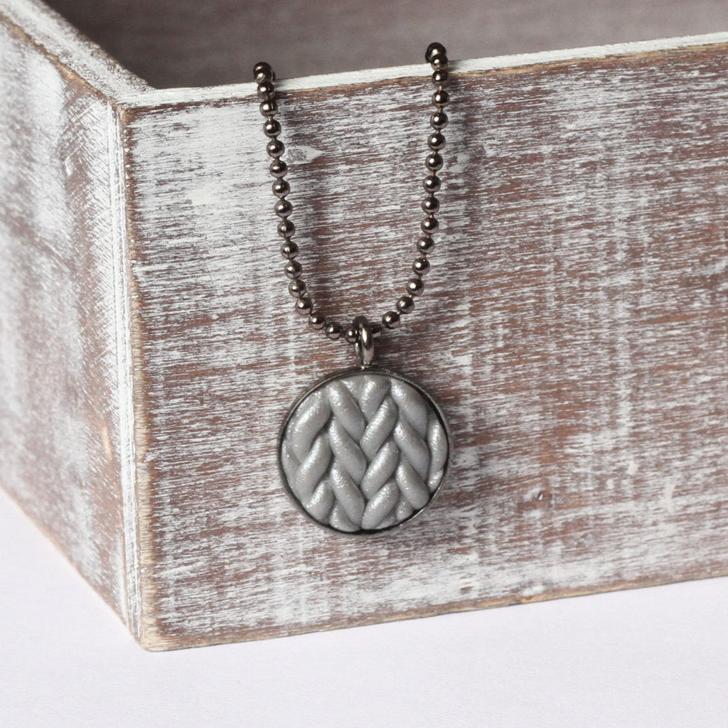 Metallic silver Knitted clay pendant