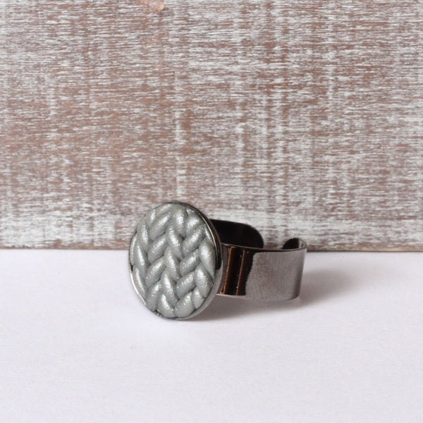Metallic silver Knitted clay ring
