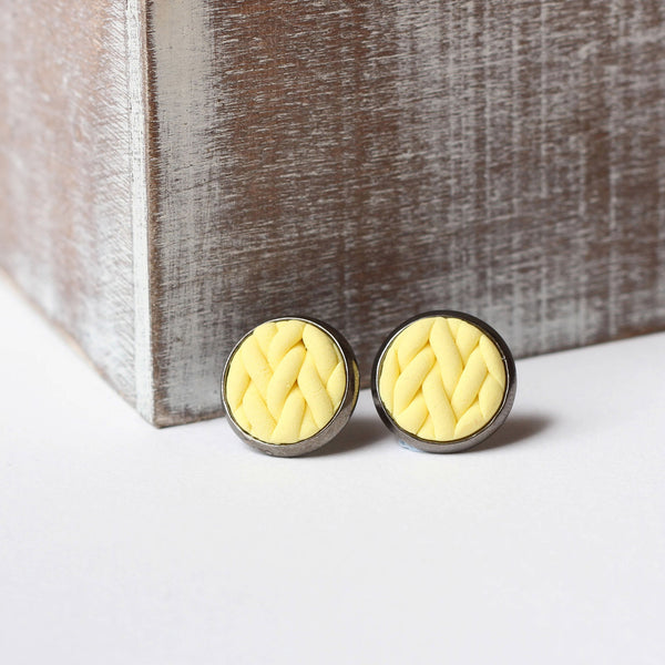 Pastel Yellow knitted clay Earrings
