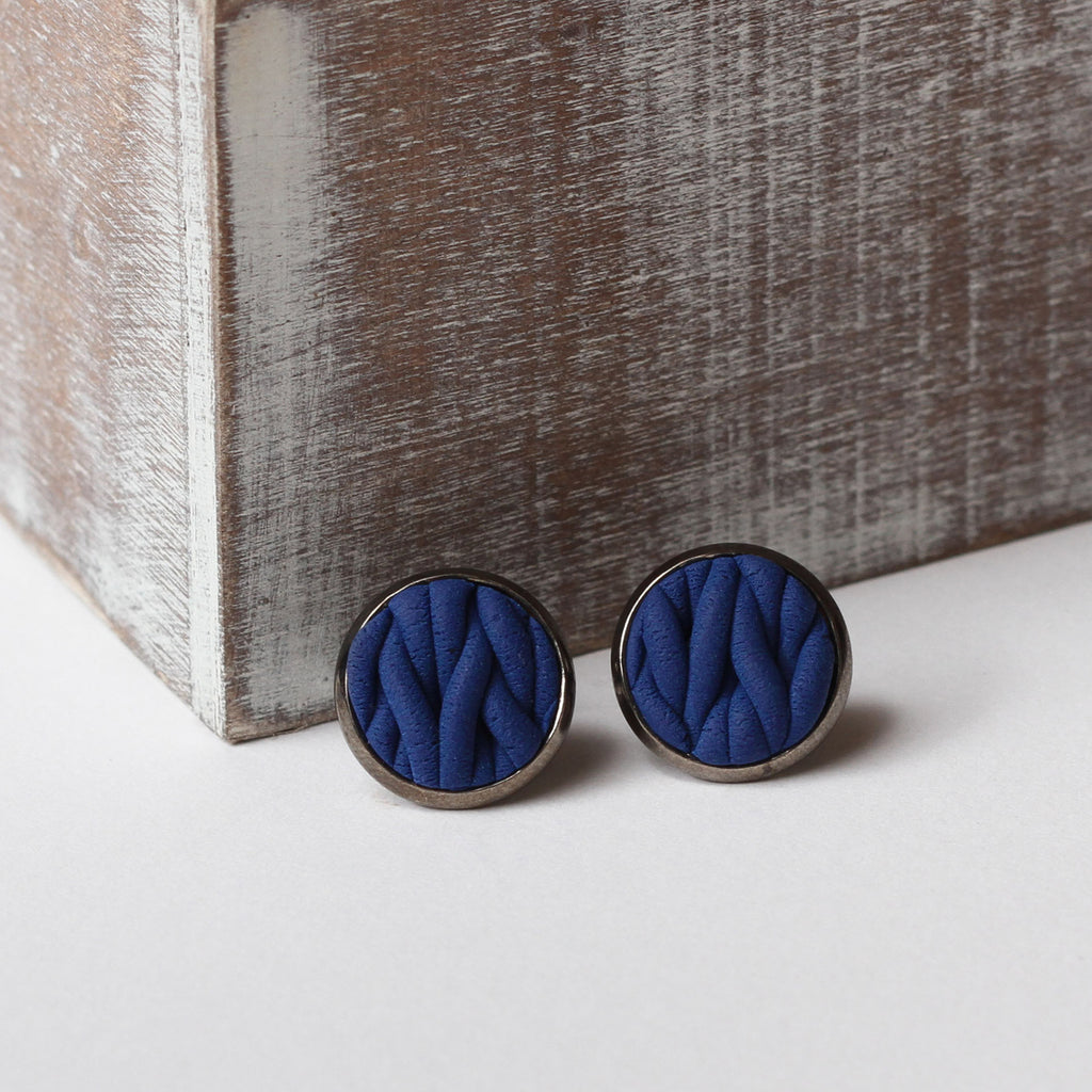 Navy knitted clay Earrings