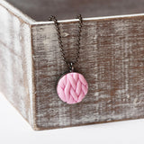 Pastel Pink knitted clay Necklace