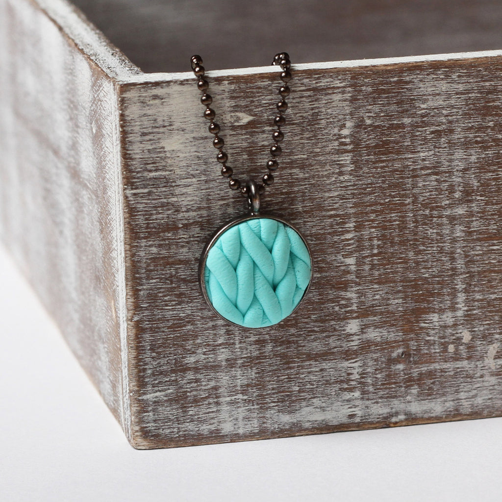 Pastel Turquoise knitted clay Necklace