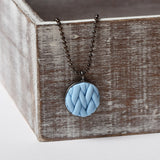 Pastel Blue knitted clay Necklace