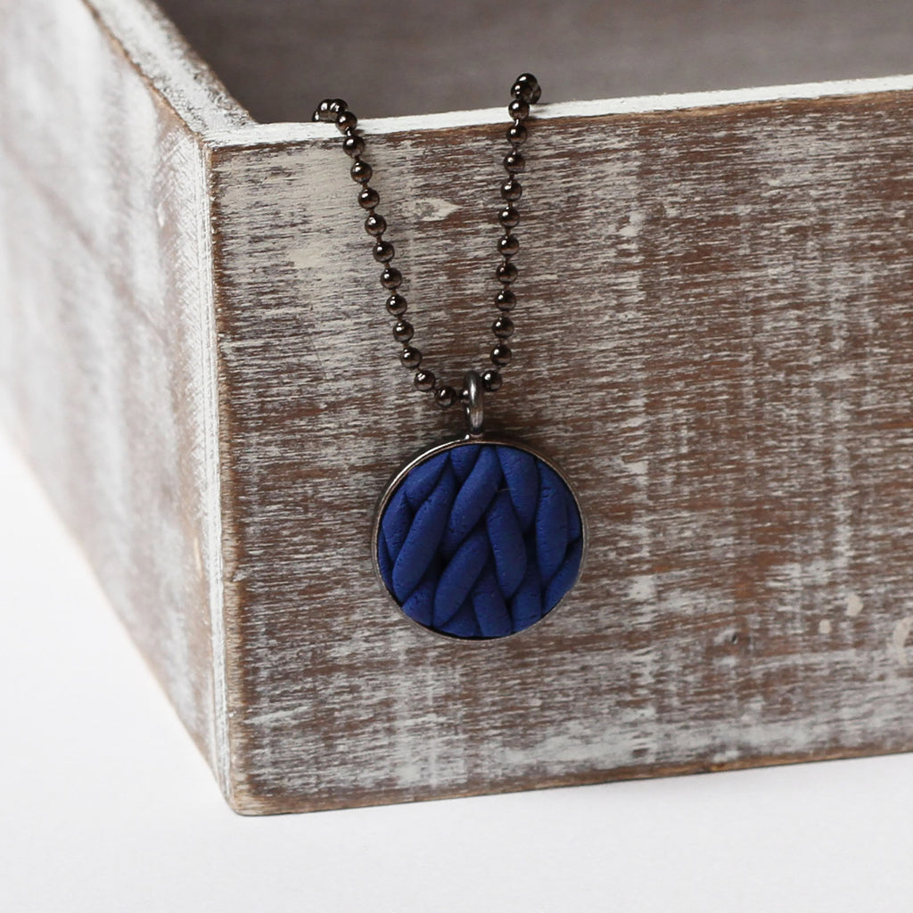 Navy knitted clay Necklace