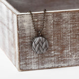 Grey knitted clay Necklace