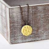 Pastel Yellow knitted clay Necklace