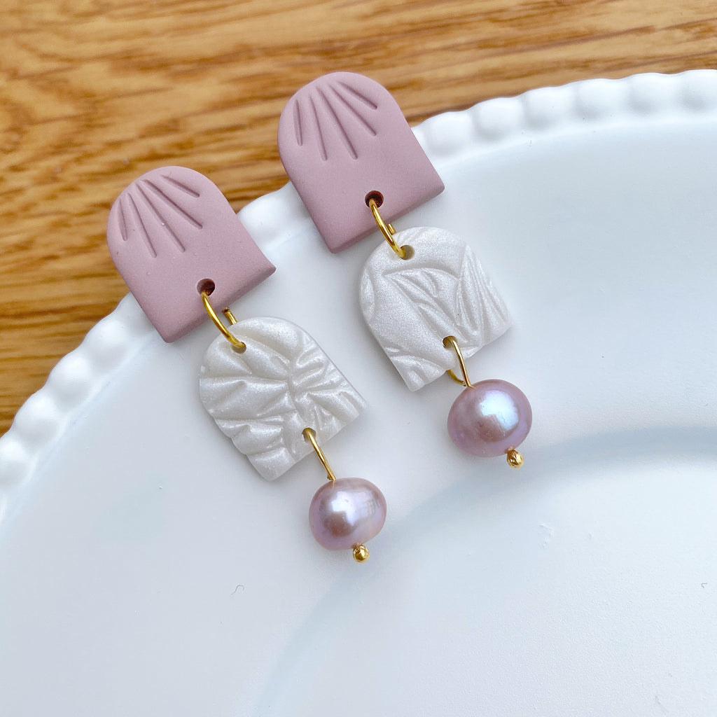 Pearly Pink double dome statement earrings
