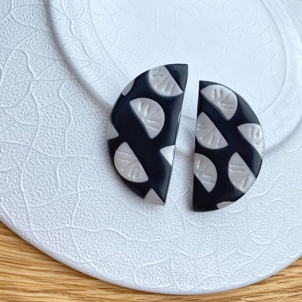 Black with pearl segment pattern statement earrings - large semi circle stud