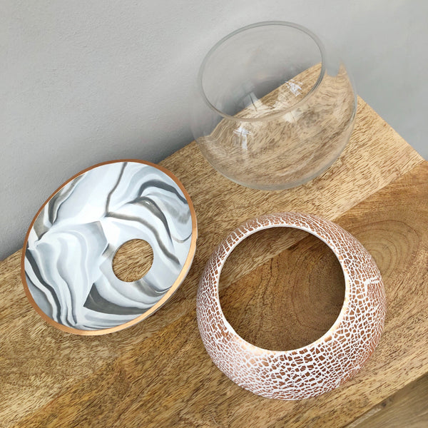 Light Marble and Copper Ball Vase
