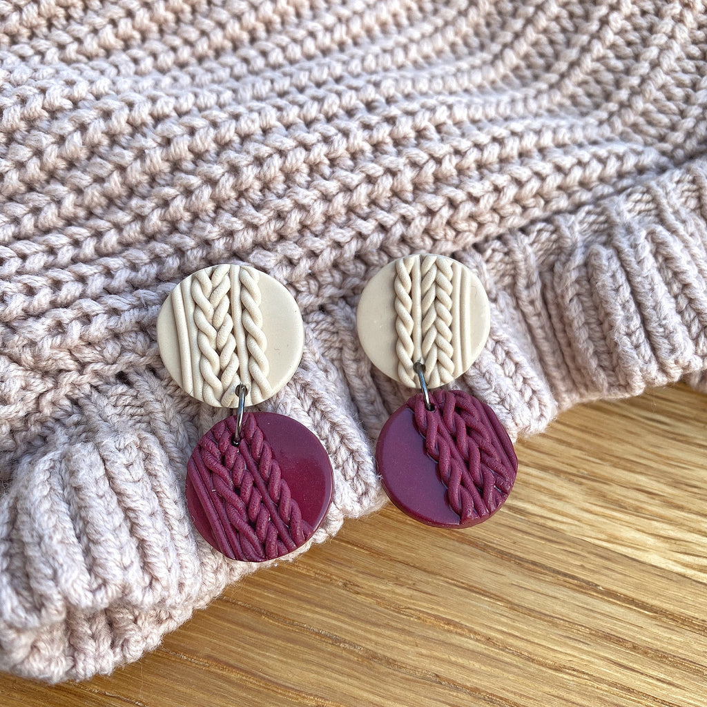 Knitted statement double disk earrings - Burgundy