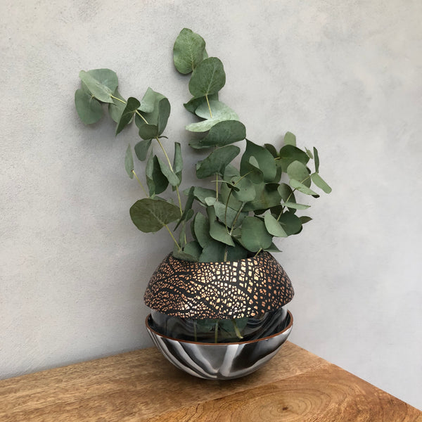 Dark Marble and Copper Ball Vase