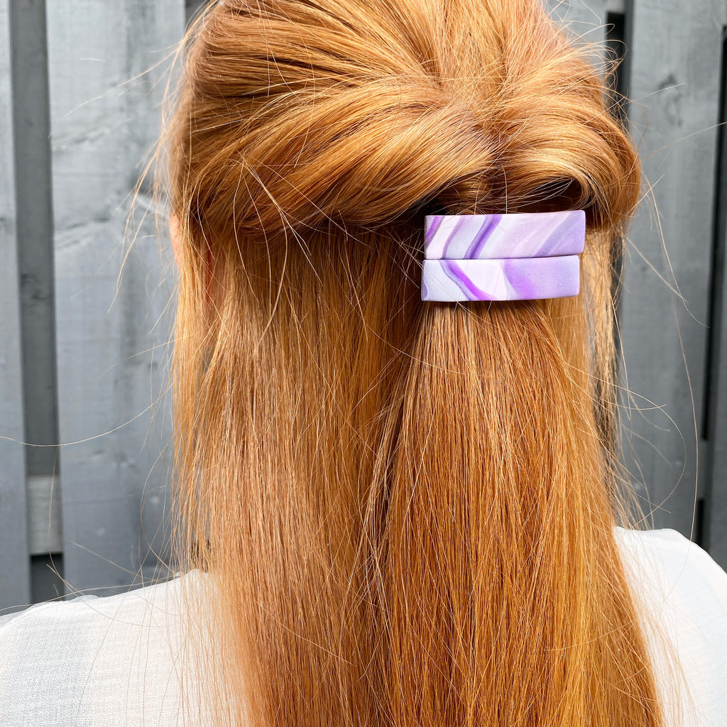 Purple marble hair clip set