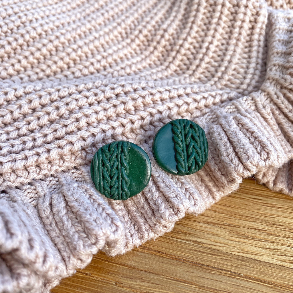 Knitted statement stud - Forest green