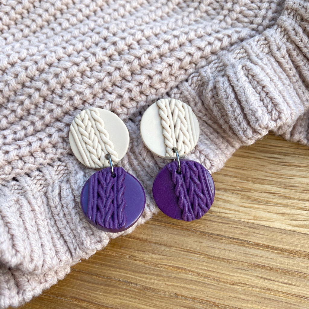 Knitted statement double disk earrings - Plum
