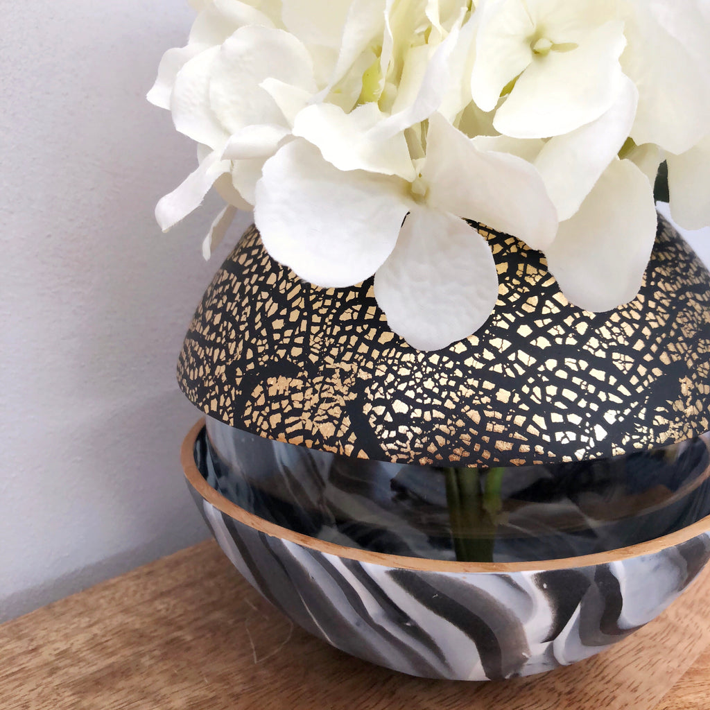 Dark Marble and Gold Ball Vase