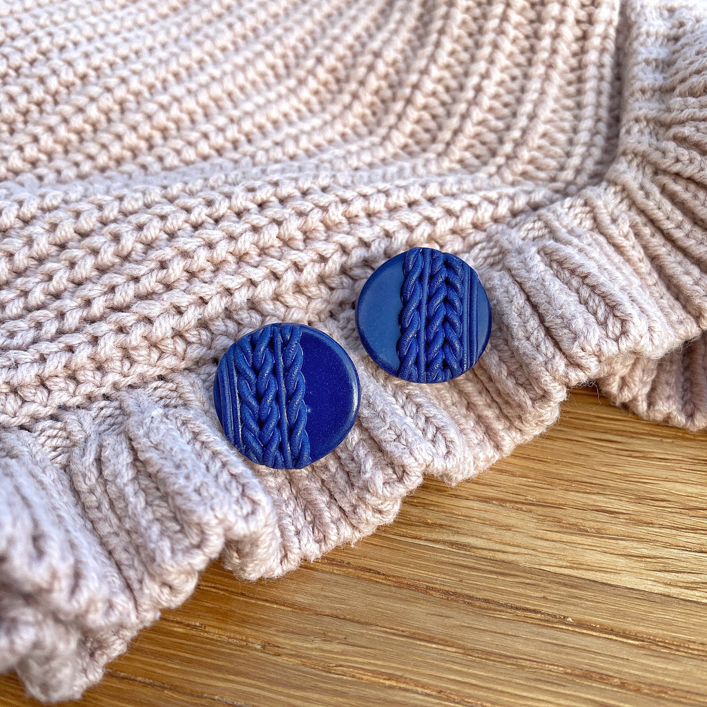 Knitted statement stud - Navy
