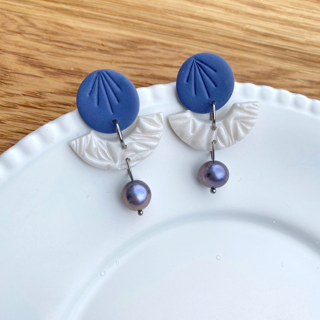 Pearly Blue disc and bridge statement earrings