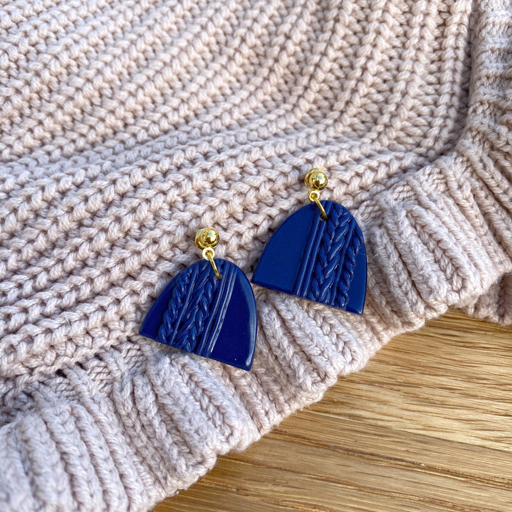 Knitted statement arch drop earring (gold or silver stud) - Navy