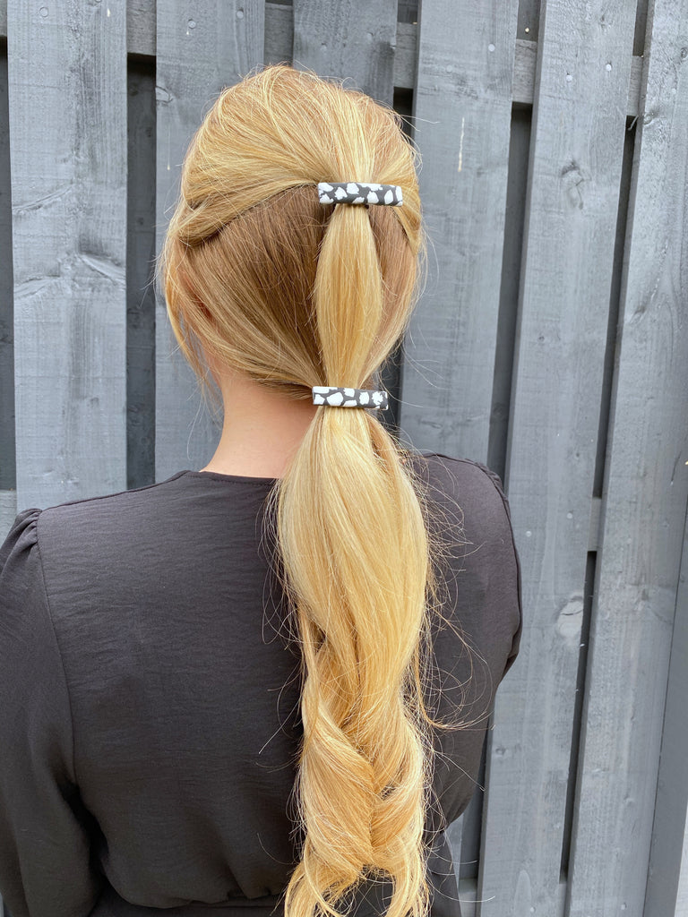Black and white terrazzo hair clip set