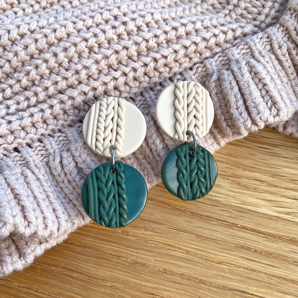 Knitted statement double disk earrings - Forest green