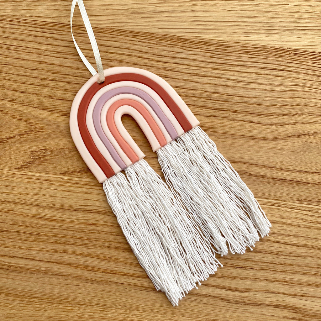 SALE - ready to buy rainbow hanging decoration - terracotta tones