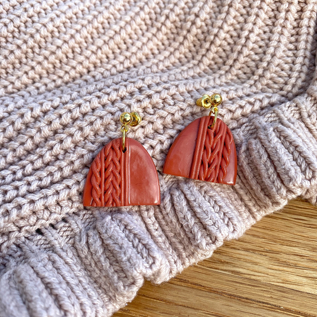 Knitted statement arch drop earring (gold or silver stud) - Terracotta