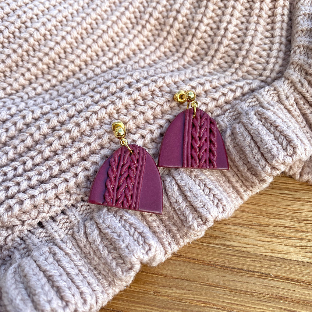 Knitted statement arch drop earring (gold or silver stud) - Burgundy